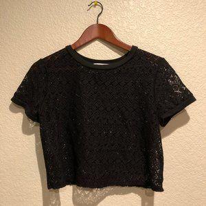 Victoria's Secret Black Crochet Cover Up Crop Top